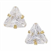 7mm trillion cut Cubic Zirconia 9ct gold Stud Earrings